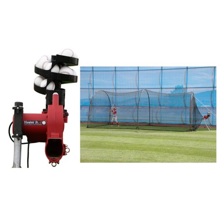 Real Ball Pitching Machine (Trend Sports Heater Jr Real Ball Pitching Machine & Xtender 24' Cage)