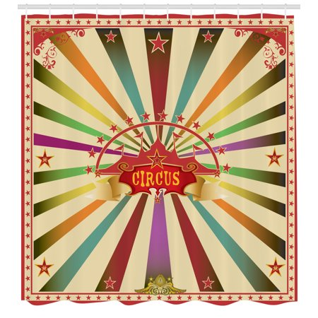 Circus Shower Curtain, Colorful Retro Circus Invitation or Advertisement for Audience with Tent Silhouette, Fabric Bathroom Set with Hooks, 69W X 70L Inches, Multicolor, by Ambesonne