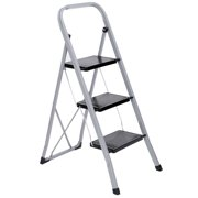 ZENSTYLE 3 Step Ladder Folding Step Stool with Anti-Slip Wide Pedal,Hold Up to 330lb Sturdy Steel 3 Step Stool ,Lightweight Folding Step Ladder Silver and Black