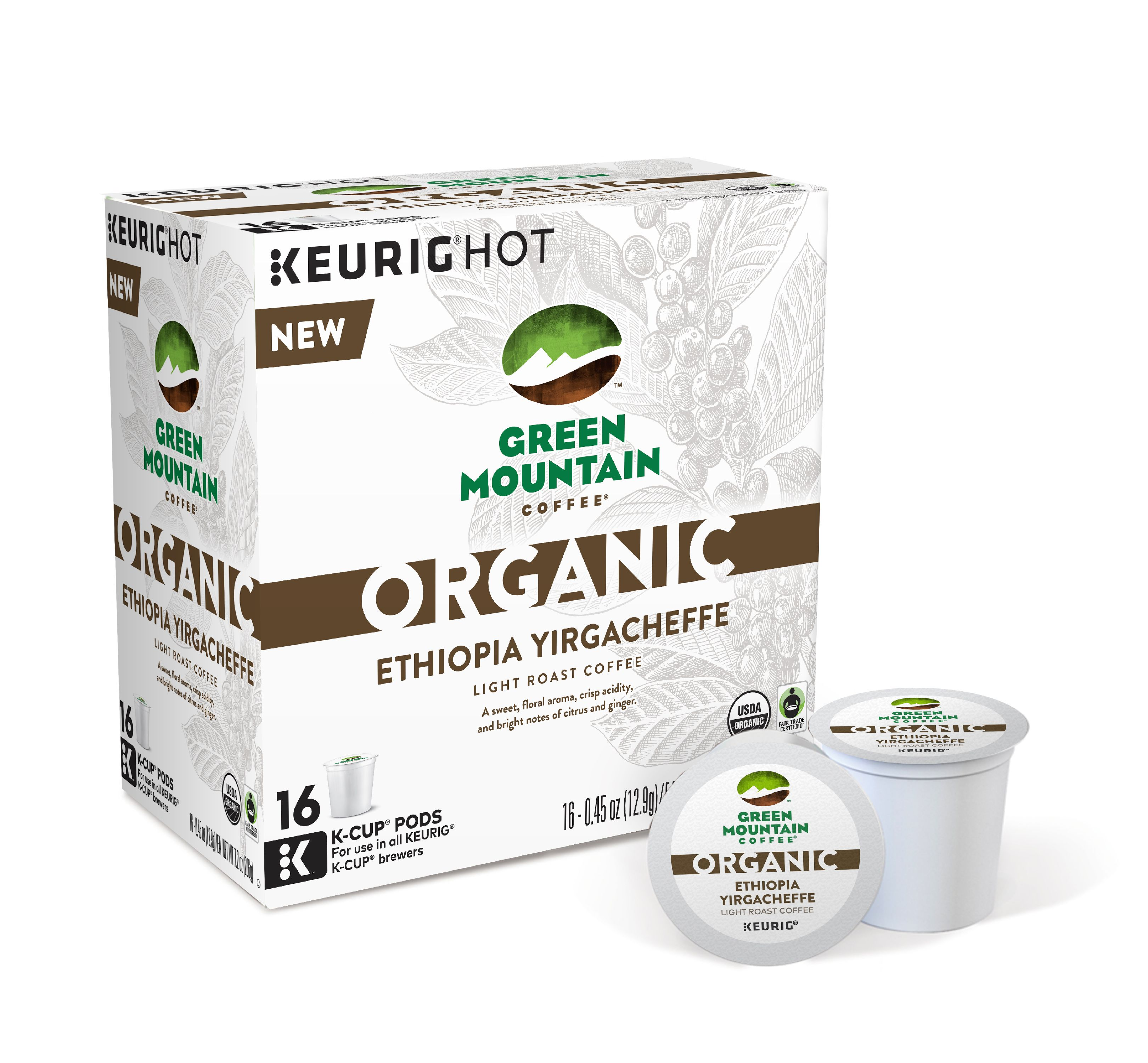 Green Mountain Coffee Organic Ethiopia Yirgacheffe Coffee Keurig Single-Serve K-Cup pods, Light