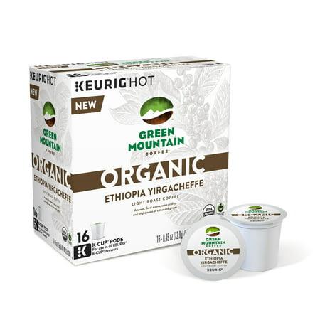 Green Mountain Coffee Organic Ethiopia Yirgacheffe Coffee Keurig Single-Serve K-Cup pods, Light Roast Coffee, 16 Count