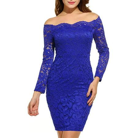3fc024ce0218c Vista - Women's Off Shoulder Lace Dress Long Sleeve Bodycon Cocktail Party  Wedding Dresses - Walmart.com