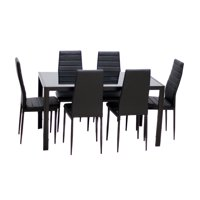 IDS Home 7-Pieces Dining Table Set, Home Dining Dinette Kitchen 6 People Dining Furniture Set with Glass Top Metal Leg a