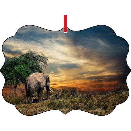 Ornament Elephant African Elephant at Sunset Elegant Aluminum Semigloss Christmas Ornament Tree Decoration - Unique Modern Novelty Tree Décor - Sunset Novelties Website