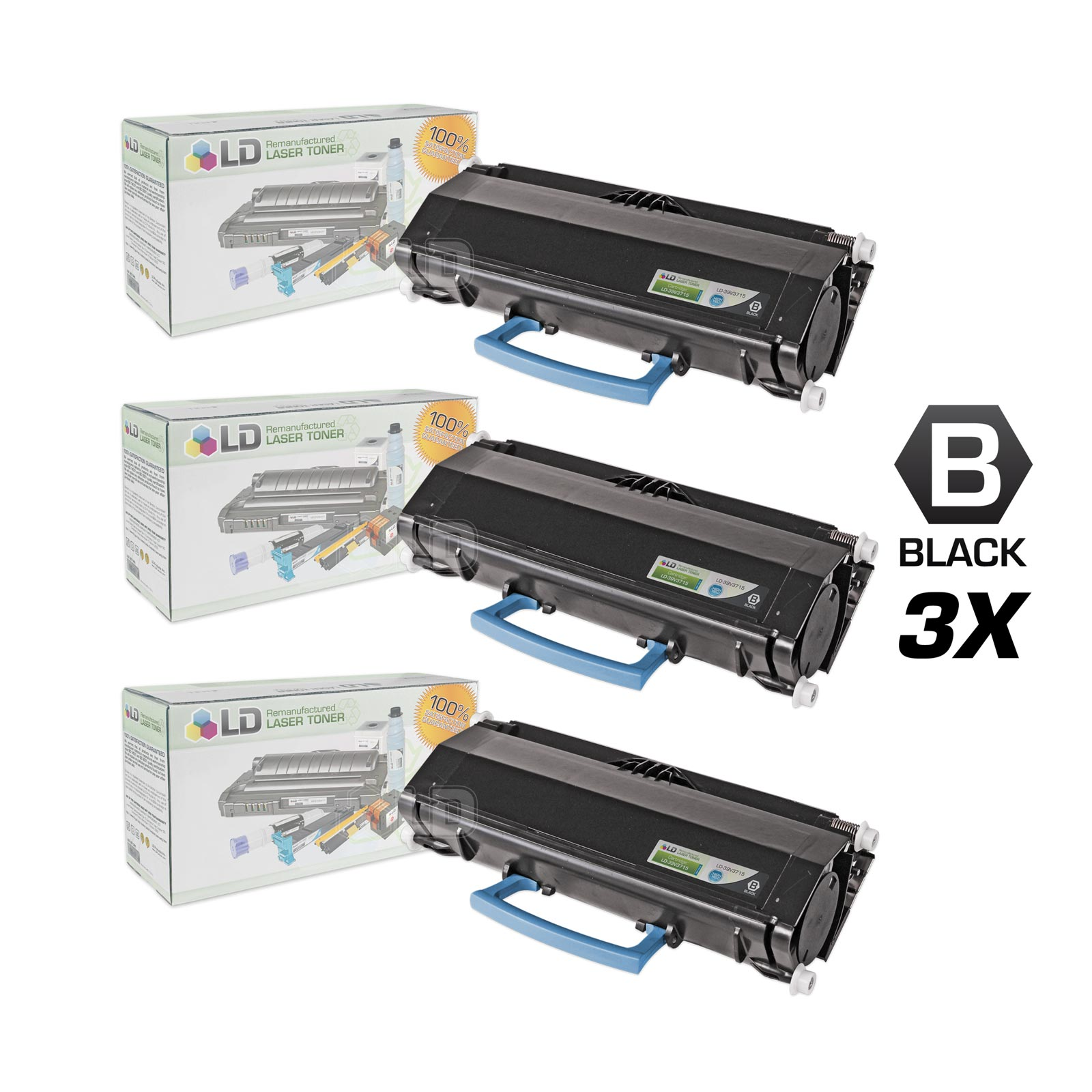 LD Remanufactured IBM 39V3715 High Yield Black Laser Toner Cartridges