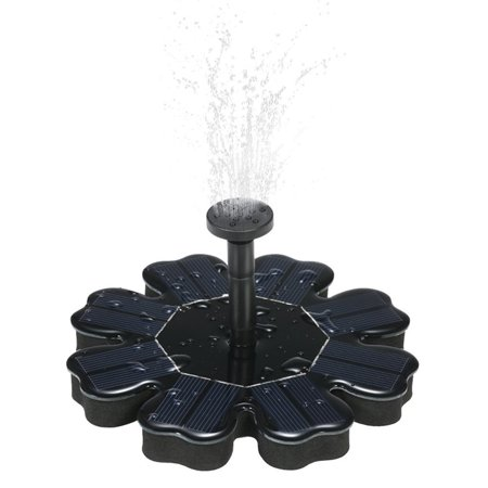Flower-shape Solar Powered Floating Fountain for Pond Garden Decoration Home Appliance Color:black