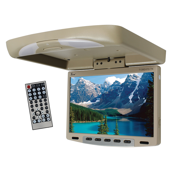 Tview 13'' Flipdown Wide Screen W/Built in DVD Player-Tan