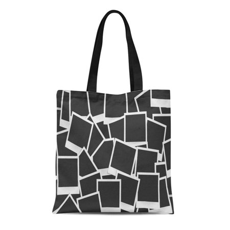 HATIART Canvas Tote Bag Collage of Realistic Frames Retro Snapshot Abstract Album Black Reusable Shoulder Grocery Shopping Bags Handbag - image 1 of 1