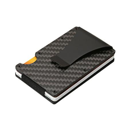 Black Money Clip - Carbon Fiber Credit Card Holder Carbon Fiber Slim Minimalist Wallet Front Pocket Wallet Credit Business Card Holder With Money Clip For Men (Black)