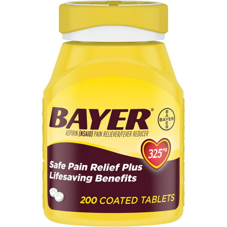 Genuine Bayer Aspirin Pain Reliever/Fever Reducer Coated Tablets, 325 mg, 200 ct