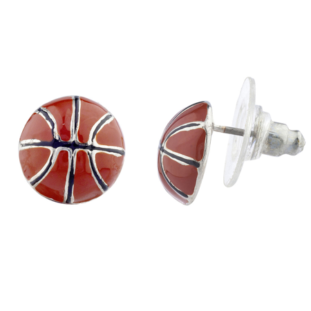 Lux Accessories Silver Tone Brown Enamel Sports Basketball Novelty Post Earrings](Basketball Earrings)
