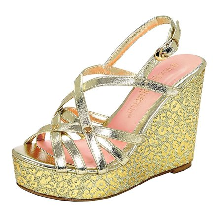 Metallic Cheetah Peep - Toe Platform Wedge Women