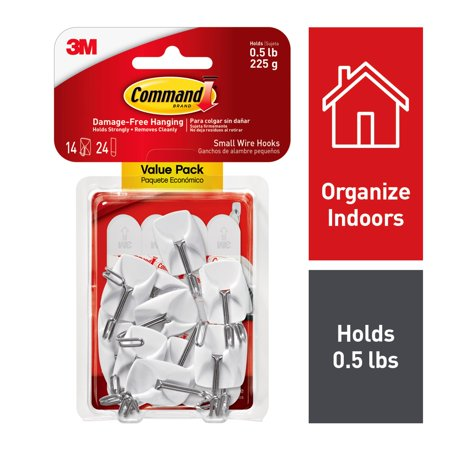 - Command Small Wire Hooks Value Pack, White, 14 Hooks, 24 Strips (holds 0.5 lb)