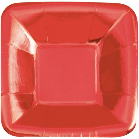 Square Paper Appetizer Plates, 5 in, Foil Red, 8ct
