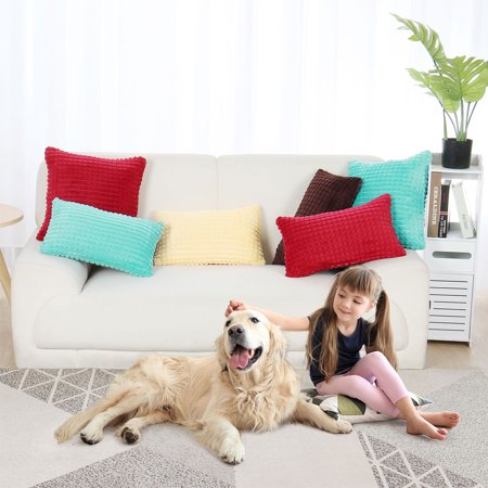 "Faux Fur Plush Throw Pillow Cover Fluffy Cushion Cover Sofa 2pcs(20""x20"", Cyan) - image 9 of 10"