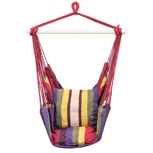 Hanging Rope Chair Swing, Red and Purple