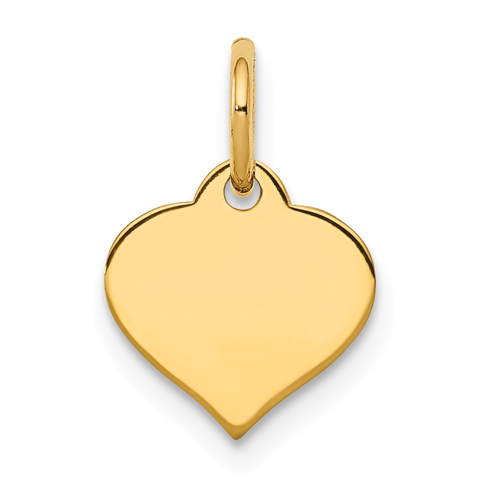 14K Yellow Gold Plain .009 Gauge Engraveable Heart Disc Charm Pendant from Roy Rose Jewelry