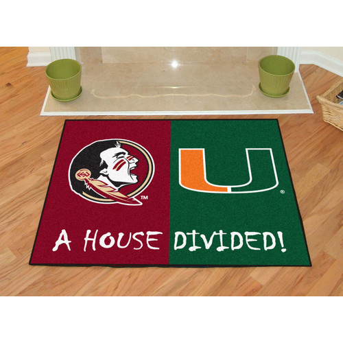 FANMATS NCAA Florida State Seminoles Miami House Divided Mat