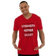 Jesus V-Neck Tees Shirts Tshirt T-Shirt My Strength My Father My Glory Christian Christ God