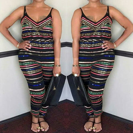 The Noble Collection Women Stripe Plus Size Bodycon Jumpsuit V-neck Romper Trousers Clubwear Party