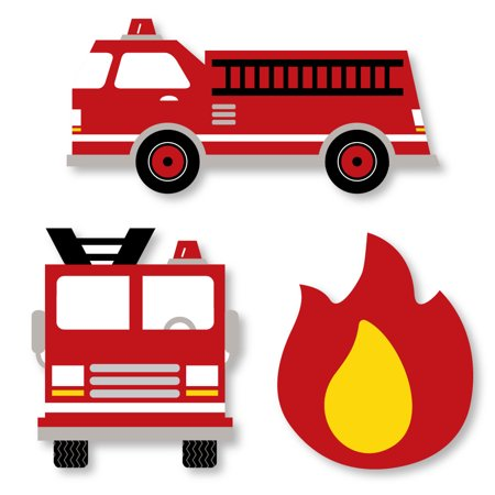 - Fired Up Fire Truck - DIY Shaped Firefighter Firetruck Baby Shower or Birthday Party Cut-Outs - 24 Count