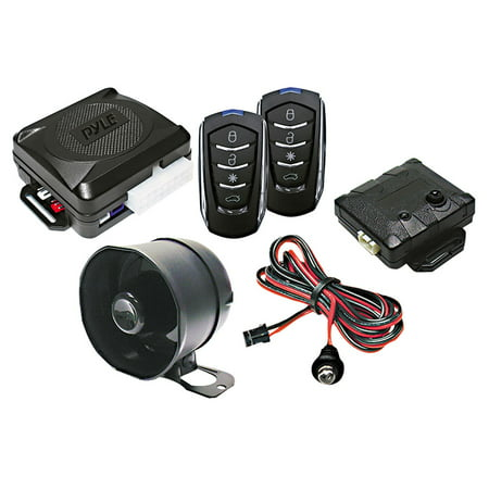 PYLE PWD701 - Car Alarm Security System - 2 Transmitters w/ 4 Button Remote Door Lock Vehicle Ignition Locks Status Indicator LED w/Sensor Bypass Valet Override Switch & 2 Auxiliary Outputs - PWD701 (Communications Status Indicator)