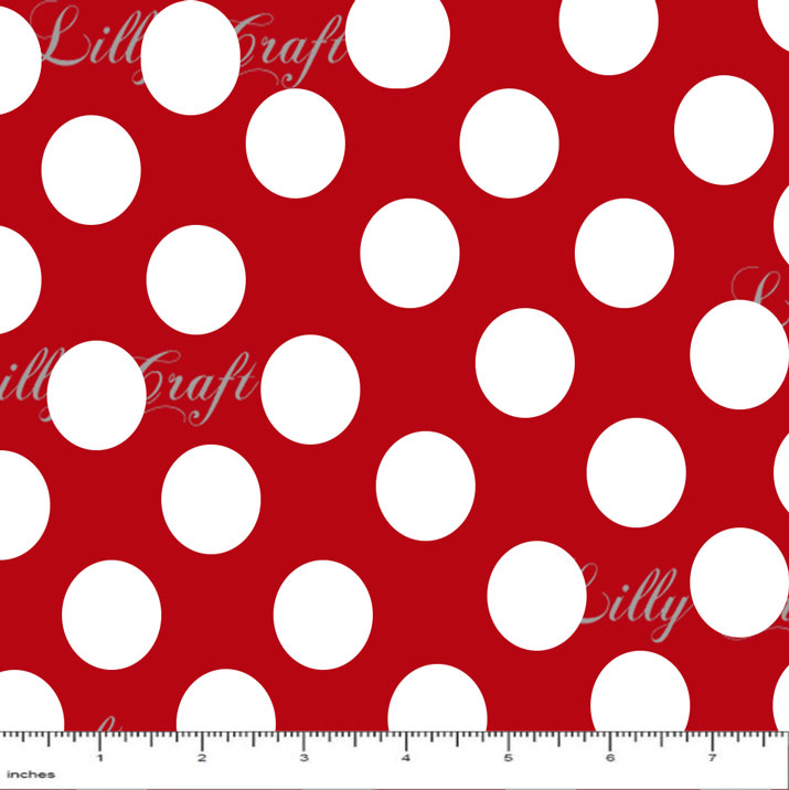 "1"" White Dots on Red Poly Cotton Fabric - Sold By The Yard - 58"" / 59"""