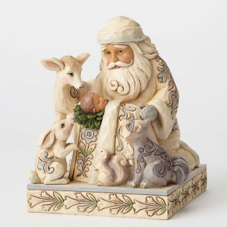 Jim Shore Plush - Jim Shore 4053687 White Woodland Santa w/Baby Jesus