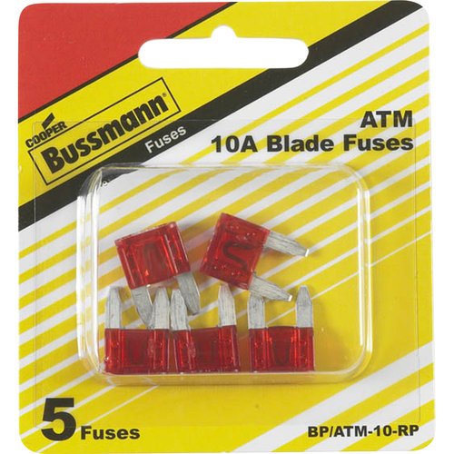 Cooper Bussman ATM 10A Blade Fuses, 5-Count