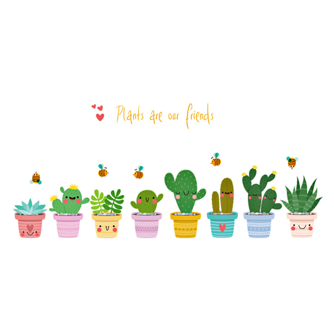 Family PVC Cactus Pattern Removable Self-adhesive Window Wall Sticker