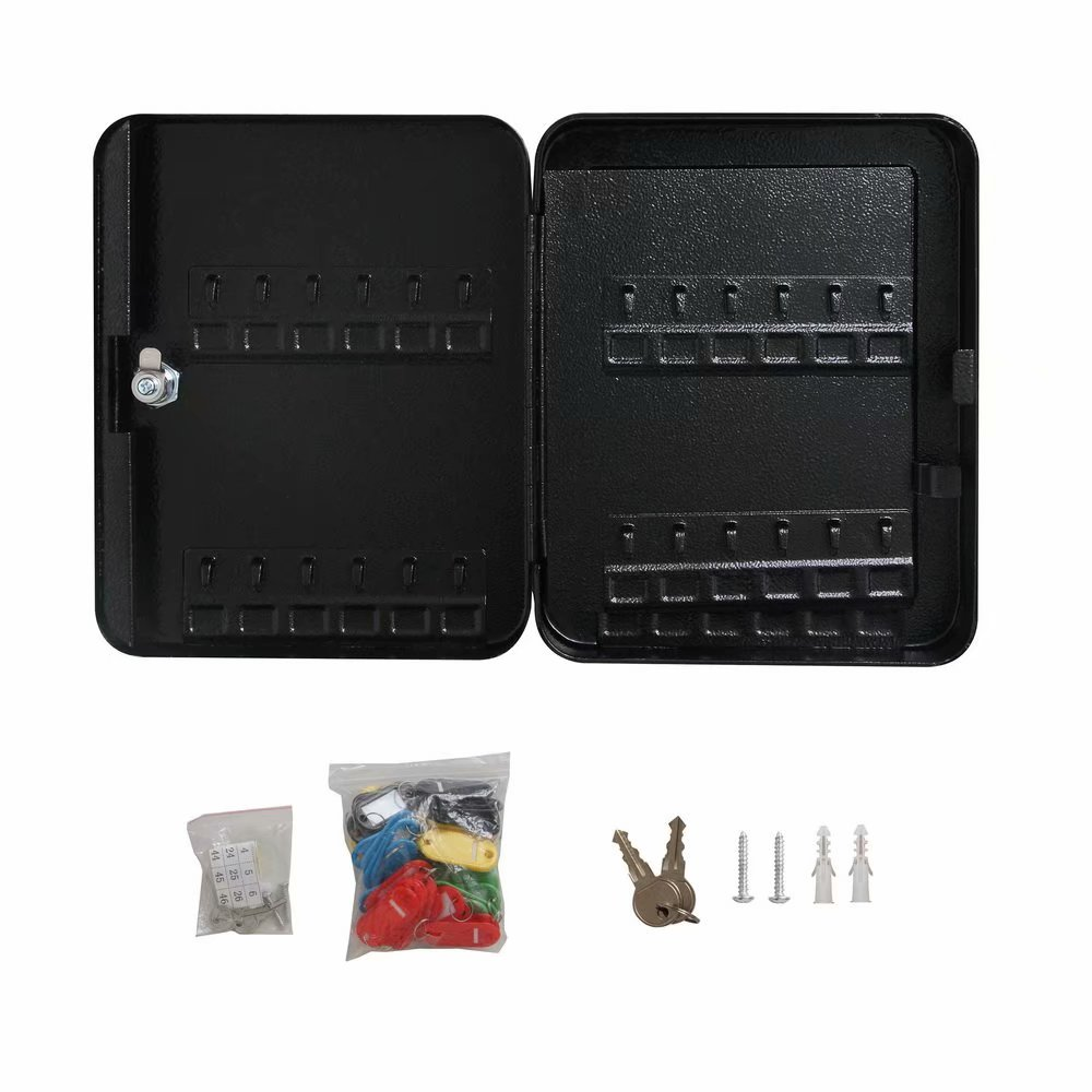 48 Metal Safe Hook Key Box Tags Home Car Lock Storage Case Cabinet Wall Mount Black