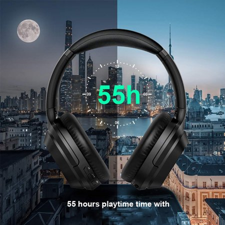 Active Noise Cancelling Headphones, Over Ear Wireless Bluetooth Headset Microphone, 25Hrs Playtime, Foldable Soft Protein Earpads Earphones for Travel Work TV PC Phone - image 4 de 9
