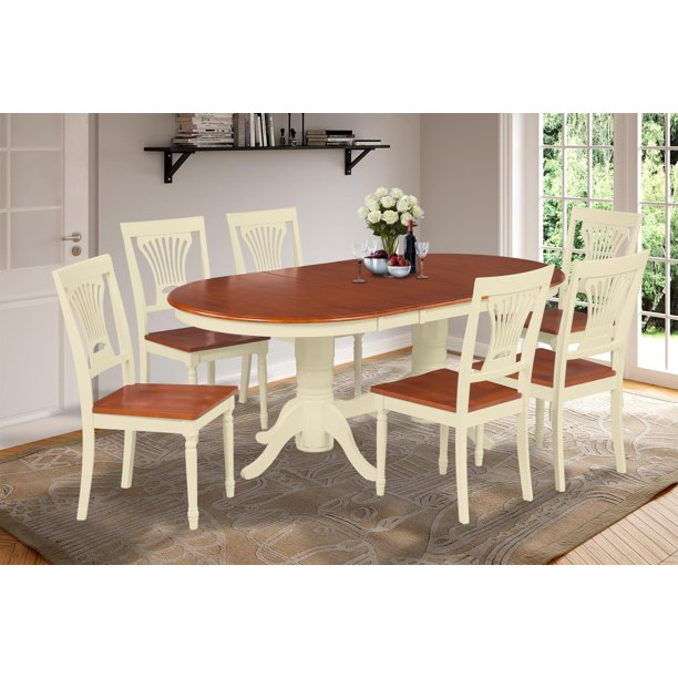 7 piece dining room set table with a butterfly leaf and 6
