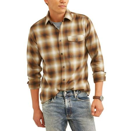 (Big Men's Long Sleeve Poly Flannel Shirt)