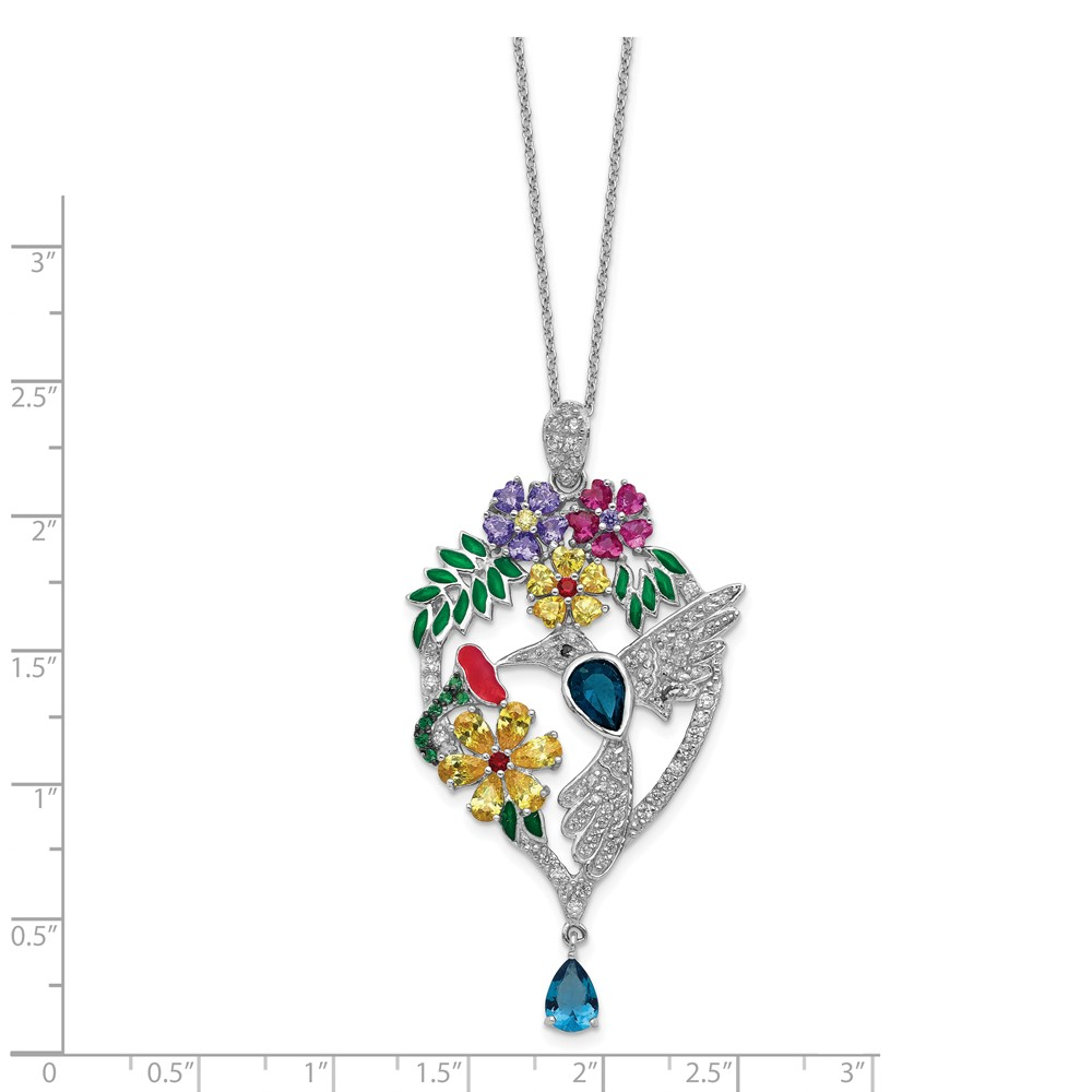 925 Sterling Silver Rhodium-plated Polished CZ /& Created Blue Spinel Chain Slide Charm Pendant