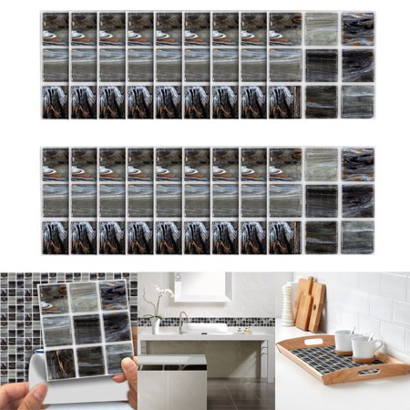 18pcs Self Adhesive Waterproof Black Marble Mosaic Wall Art Kitchen Tile Sticker