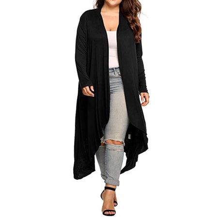 Fashion Women's Plus Size Lightweight Knitted Cardigan Soft Open Front Long Sleeve Cardigan Outwear Lightweight Coat Black/Purple