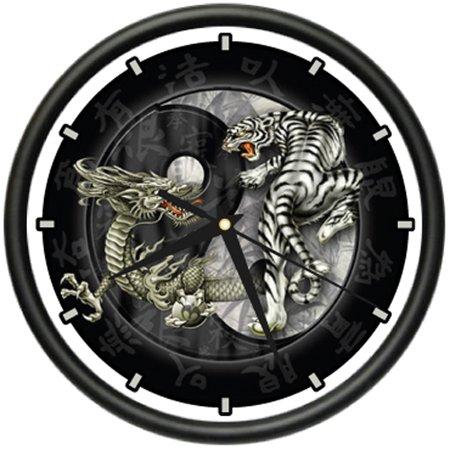 DRAGON Wall Clock yin yang chinese asian dragons gift