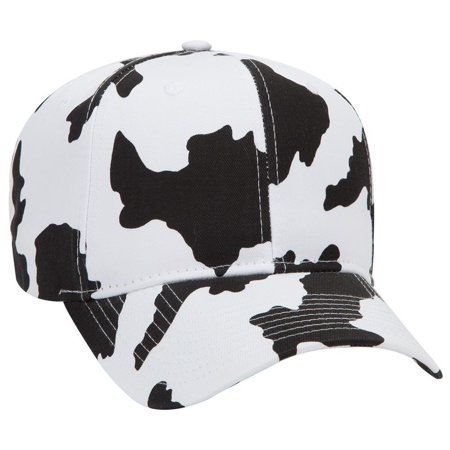 OTTO Cow Pattern Cotton Blend Twill 6 Panel Pro Style Baseball Cap - Blk/Wht