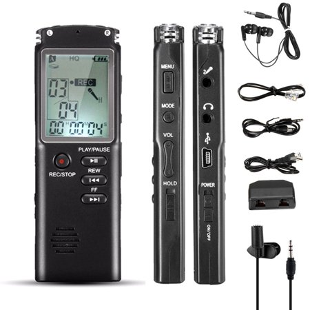 8GB 60HR HD Clear Digital Voice Activated Noise Cancelling LCD mini Sound Audio Voice Recorder Dictaphone MP3 Player with Speaker + Earphone USB Rechargeable for Lectures, Meeting