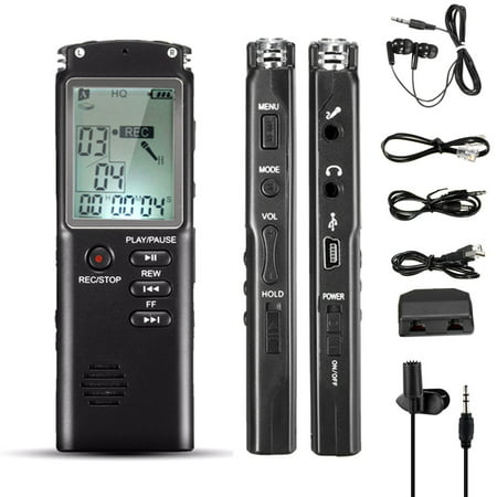 8GB 60HR Clear Noise Cancelling Digital LCD Voice Activated Sound Audio Voice Recorder Dictaphone MP3 Player+Earphone +Cable with Speaker USB for Lectures,