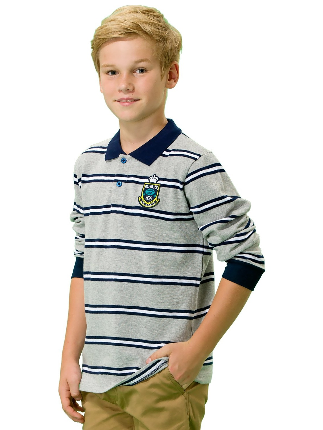 Leo&Lily Big Boys' Kids Long Sleeves Pique Casual Polo Shirts (Melange Stripes, 6)