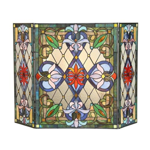 Chloe Tiffany-style Victorian Design Fireplace Screen by Overstock