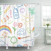 KSADK Colorful Draw Children Doodle Sketch Kid Rainbow Brush Flower Abstract Bird Bright Shower Curtain Bath Curtain 66x72 inch