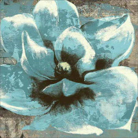 Textured Canvas (Close Up Flower on Distressed Texture Painting Blue Canvas Art by Pied Piper)