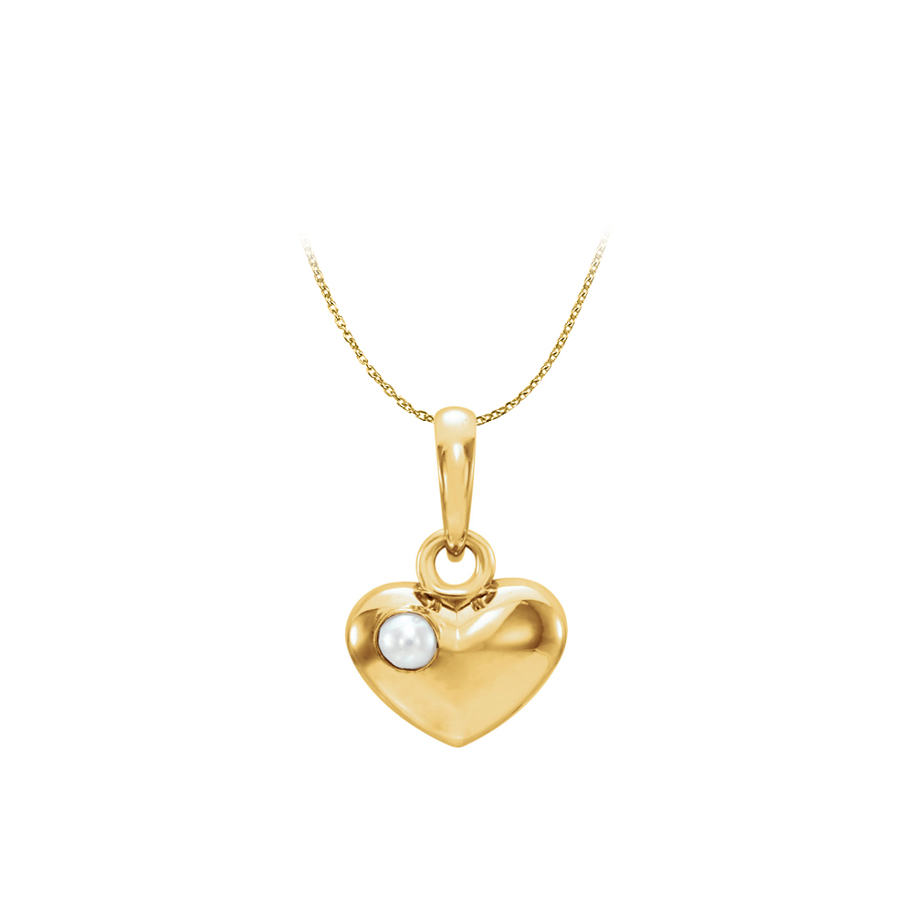 Freshwater Cultured Pearl Puffed Heart Pendant 14K Gold - image 2 of 2