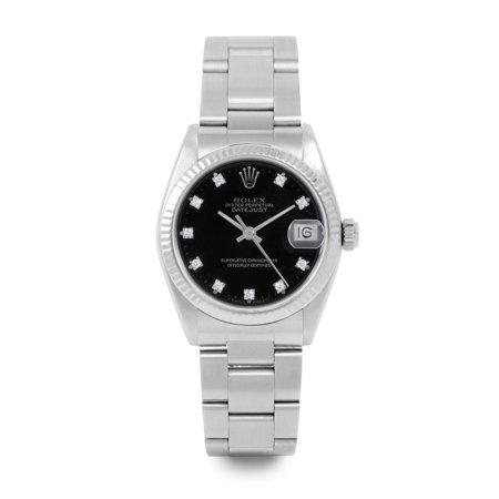 Pre Owned Rolex Datejust 6827 w/ Black Diamond Dial 31mm Women's Watch (Certified & Warranty Included)