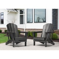 Westin Outdoor Braxton Folding Plastic Adirondack Chair (Set of 2), Black