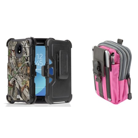 - Rugged Case Holster Combo for Samsung Galaxy J3 Orbit (Tree Camo) with Pink Gray Tactical Utility Pack and Atom Cloth for Samsung Galaxy J3 Orbit
