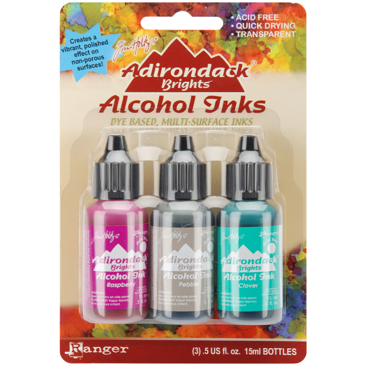 Ranger Adirondack Brights Alcohol Ink 1/2-Ounce 3/Pkg, Valley Trail Multi-Colored